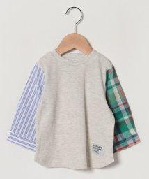 petit main/袖異素材ワッフルTシャツ/501969724