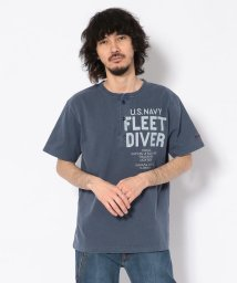 AVIREX/TYPE BLUE/ピグメント ヘンリーネックTシャツ フリートダイバー/PIGMENT DYED HENLY NECK T-SHIRT/501982904