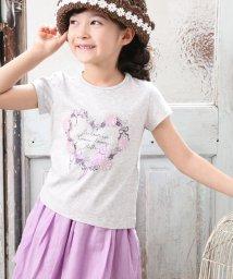 BeBe/花モチーフリースプリントTシャツ/501954266
