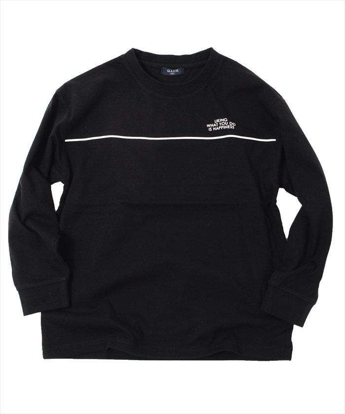 グラソス ボックスシルエット・パイピング長袖Tシャツ レディース ブラック 150cm 【GLAZOS】