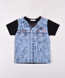 WASK/天竺ジージャン風プリントTシャツ(140cm~160cm)/501989077