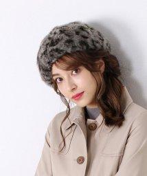 sankyoshokai/ミンクファー 帽子 編みこみ アニマル柄NABRO社/501989310