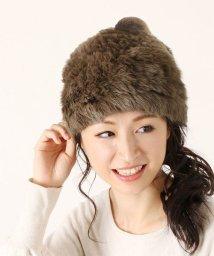 sankyoshokai/ラビットファー 編み込み ポンポン付き ふわふわ ニット帽/501989357