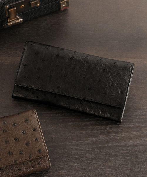 d587a83fae9e sankyoshokai(サンキョウショウカイ)/オーストリッチ かぶせ 長財布 フルポイント 小銭入れ付き 本