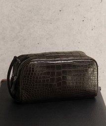 sankyoshokai/クロコダイル レザー セカンドバッグ メンズ ダブルファスナー マット加工 本革 ビジネスバッグ/501989723