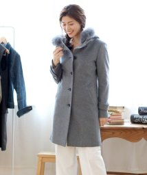 sankyoshokai/ウール & カシミヤ コート フォックス ファー トリミング フード付き/501990748