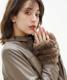 sankyoshokai/手袋 指なし ミトン ハンドウォーマー ファー 毛皮 レッキス ニット/501990907