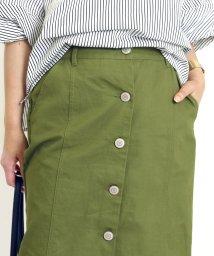 FUNNY COMPANY+/フロントボタン綿ツイルロングタイトスカート/501989610