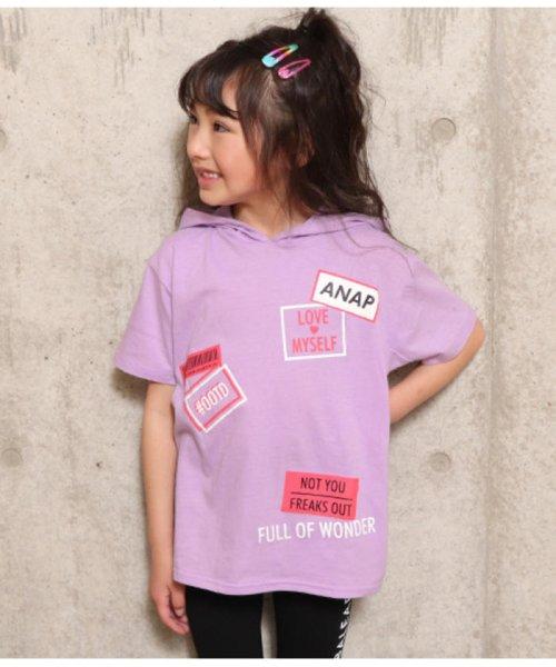 ANAP KIDS(アナップキッズ)/プリントフードチュニックトップス/0437100006