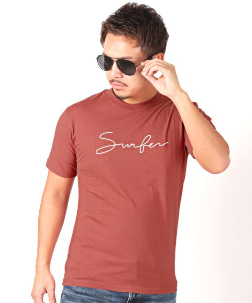 LUXSTYLE(ラグスタイル)/Surferロゴプリント半袖Tシャツ/pm-8179