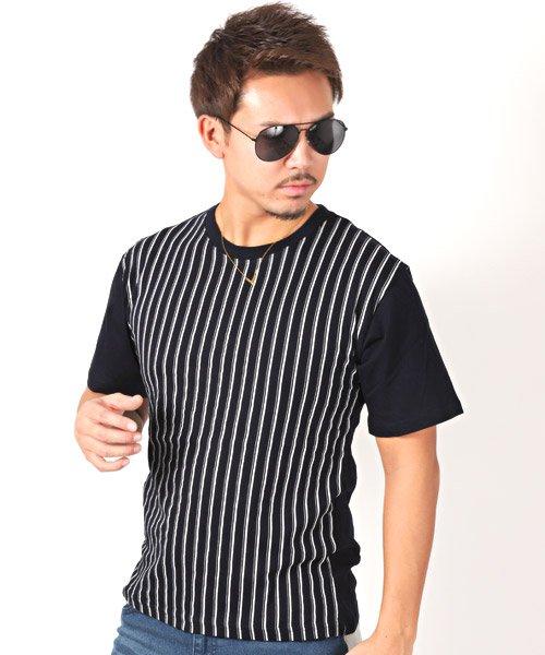 LUXSTYLE(ラグスタイル)/フロントマルチストライププリント半袖Tシャツ/pm-8191