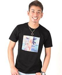 LUXSTYLE/3D加工サマービーチフォトプリント半袖Tシャツ/501963703
