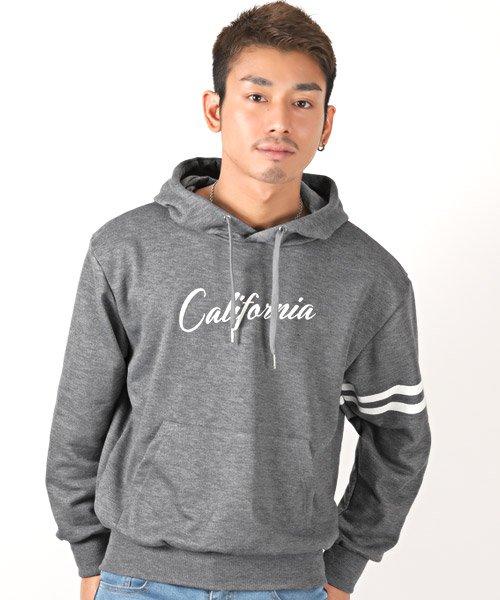 Califoniraロゴプリント袖ラインプルパーカー/パーカー メンズ ライン プルオーバー スウェット ミニ裏毛 BITTER