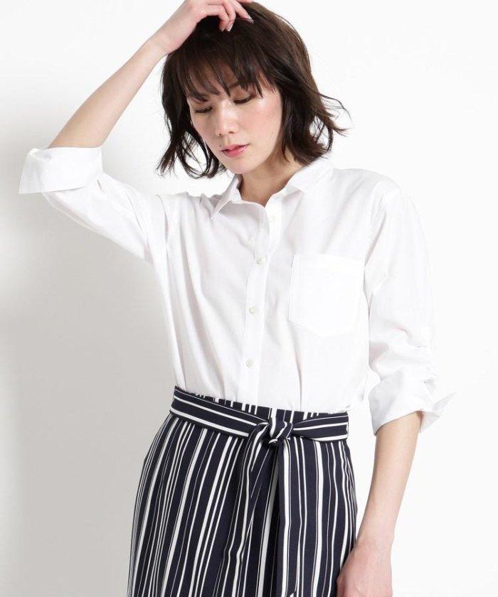 【洗える】プチ衿コットンブロードシャツ