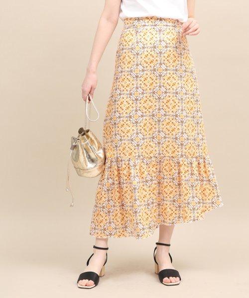 ROPE' mademoiselle(ロペ マドモアゼル)/【セットアップ対応】モザイクパターンアシメスカート/GWC49130