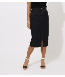AZUL by moussy/CENTER SLIT DENIM MIDI SKIRT/502002299