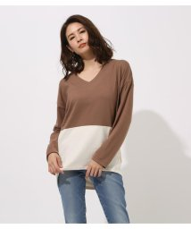 AZUL by moussy/BICOLOR V NECK TOPS/502002312
