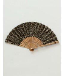 KAYA/【カヤ】紳士用 金線青海波扇子 袋付き/502008223