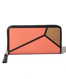 LOEWE/【LOEWE】ラウンドジップ長財布/PUZZLE ZIP AROUND WALLET【PINK TULIP/MOCCA】/501972428