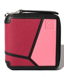 LOEWE/【LOEWE】2つ折り財布/PUZZLE SQUARE ZIP WALLET【WILD ROSE/RASPBERRY】/501972429