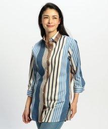 NARA CAMICIE/ランダムストライプ七分袖ロングシャツ/501972508