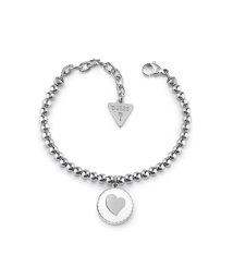 GUESS/ゲス GUESS SUMMER LOVE WHITE ENAMEL HEART BEADED BRACELET (SILVER) (SILVER)/502010267