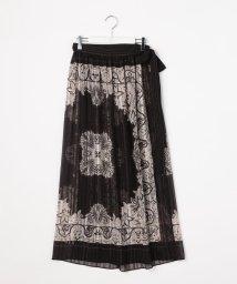 Ravissant Laviere/ラメストライプ楊柳ヴィンテージスカーフプリントラップマキシスカート/501598023