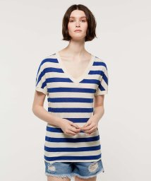 SISLEY/メランジボーダーVネック半袖Tシャツ・カットソー/501999716