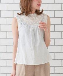 le.coeur blanc/コットンヨークレースノースリーブブラウス/501552563