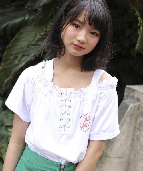 ZIDDY(ジディー)/【ニコプチ掲載】オフショル編み上げTシャツ/123512510