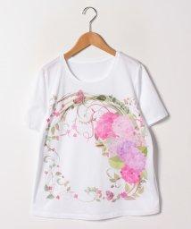 GUEST JOCONDE/【大きいサイズ/30周年記念/洗える】フローラルパネルプリントTシャツ/コットン天竺/502011131