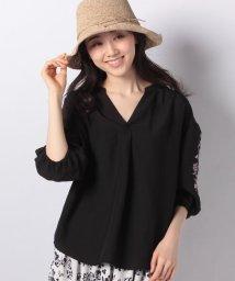 axes femme/花刺繍スキッパーシャツ/502004626
