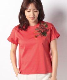 LAPINE BLANCHE/コットンクールスムース トロピカル刺繍付きカットソー/502011139
