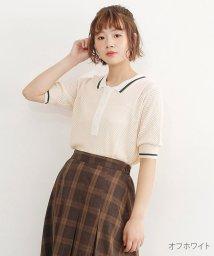 merlot/配色ラインメッシュポロシャツ/502022731