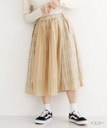 merlot/チェック柄異素材切替プリーツスカート /502022761