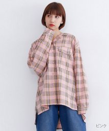merlot/チェック柄バックリボンオーバーシャツ/502022905