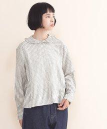 merlot/【IKYU】グラフチェックフリル丸襟ブラウス/502022920