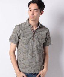 STYLEBLOCK/コットンカノコ迷彩カモフラプリントPUレザー使い半袖ポロシャツ/501996233