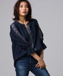 UNTITLED/[L]【洗える】袖シャーリング刺しゅうチュニック/502025401