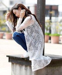Girly Doll/総花柄レースロングカーディガン(ミドル丈orロング丈)花柄レース/フラワー/花柄シフォンカーディガンセクシー 華奢魅せ 体型カバー肌見せ 刺繍 韓国 カジュアル/502011196