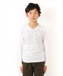 GLAZOS/ネイティブプリントVネック長袖Tシャツ/502027569