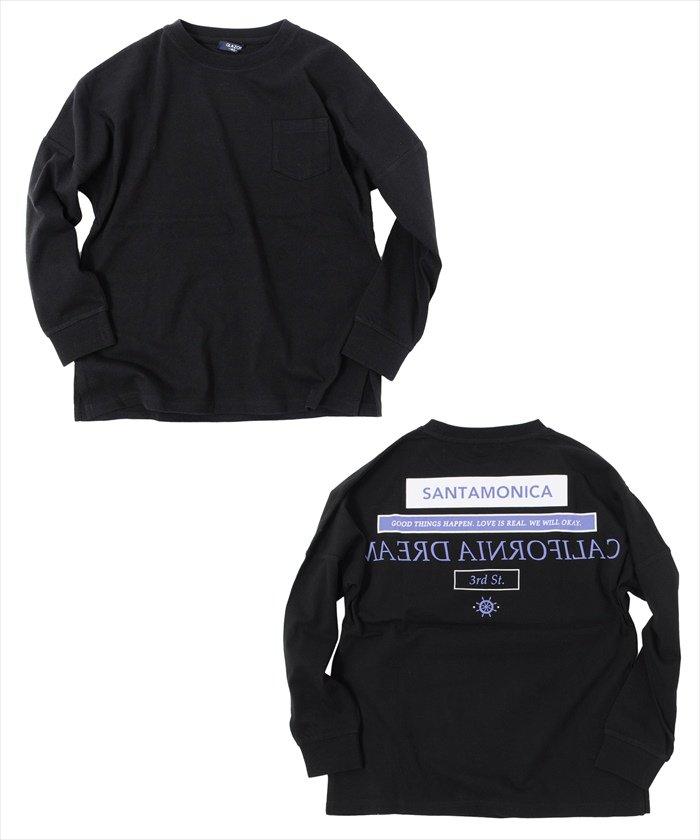 グラソス ドロップショルダーバックプリント長袖Tシャツ レディース ブラック 160cm 【GLAZOS】