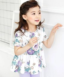 子供服Bee/花柄リボン付き半袖トップス/502026966