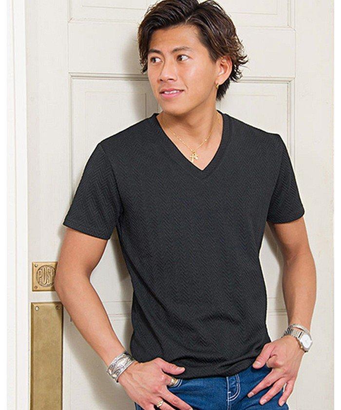 CavariA【キャバリア】ヘリンボーン柄半袖VネックTシャツ