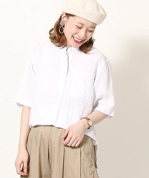 coen(コーエン)/【『リンネル』7月号掲載】フレンチリネンバンドカラーシャツ/76156009007