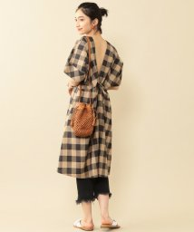 BEAUTY&YOUTH UNITED ARROWS/BY∴ チェックバッククロス5分袖ワンピース -手洗い可能-/502032804