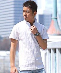 LUXSTYLE/ふくれジャガードワイヤー入りイタリアンカラー半袖ポロシャツ/ポロシャツ メンズ イタリアンカラー 半袖 ヘリンボーン BITTER/502033014