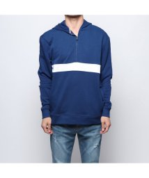 GUESS/ゲス GUESS ISAAC LOGO COLOR-BLOCK HOODIE PARKA (BLUE AND RED/WHITE BAND)/502033283