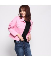 GUESS/ゲス GUESS LEDA DENIM JACKET (GLOW IN THE SUN PINK COMBO)/502033810