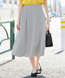 OFUON/【洗える】ストライプデザインスカート/502029089